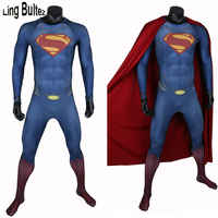 Ling Bultez High Quality New Arrive Muscle Shade Superman Costume With Cape 3D Logo Man Of Steel Supderman Spandex Suit Adult