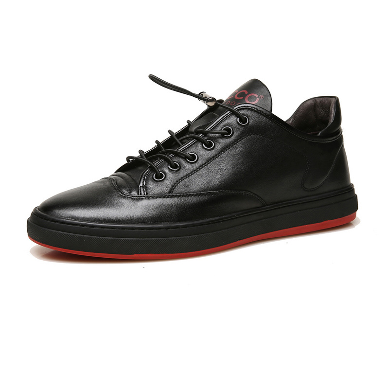 Black-Red Ecco Leather Casual Shoes Men Lace-up Male Flat Shoes Outdoor Flexible Summer Walking Shoes 503199