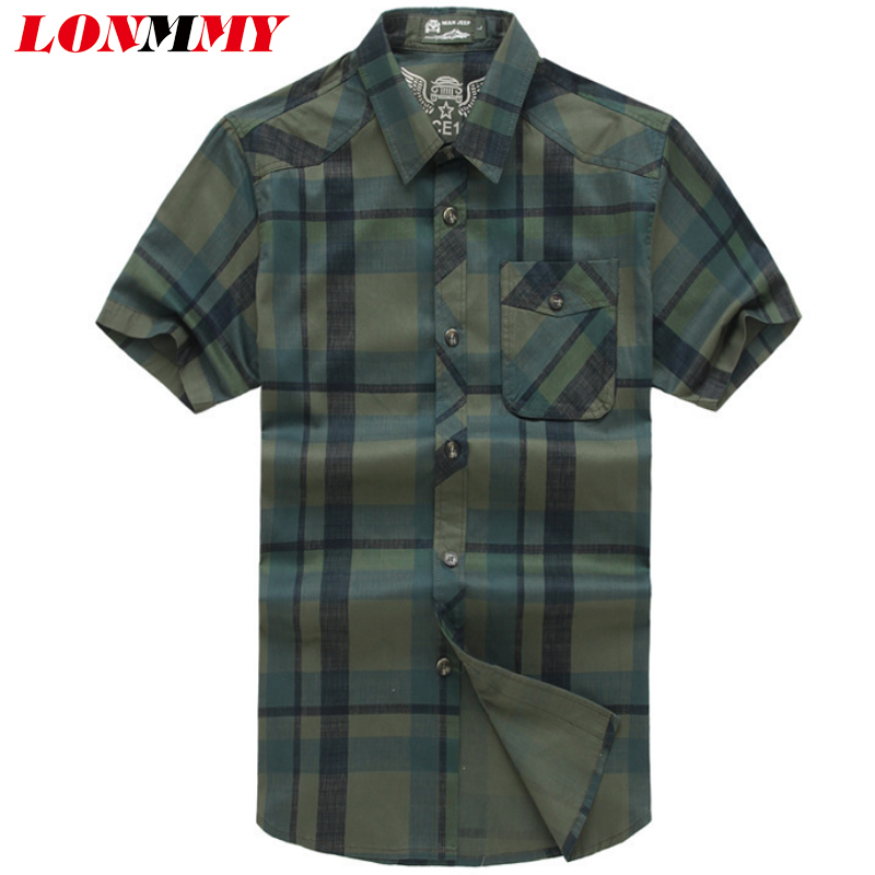 LONMMY 4XL Plaid mens shirts dress casual slim fit Stripes Cotton Short sleeves shirts men clothes army New 2018 Summer blouses
