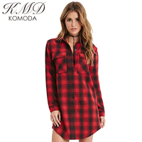 KMD KOMODA 2017 Summer Women Red Classic Plaid Shirt Medium Style Lapel Long Sleeve Flap Single Buttoned Lady Casual Blouse