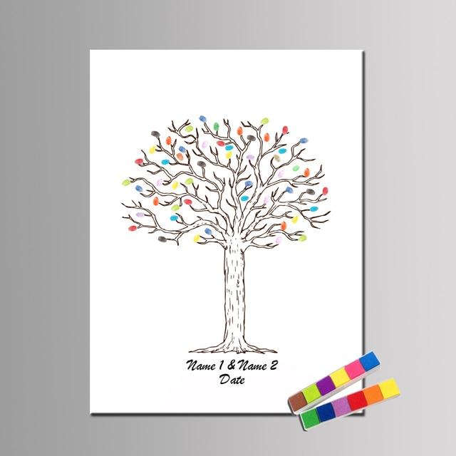 Huella Digital Del árbol Libro De Invitados Mano Dibujar Regalo De