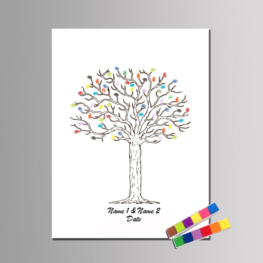 Hot Sale Wedding Tree Fingerprint Guest Book Hand Draw Wedding Gift