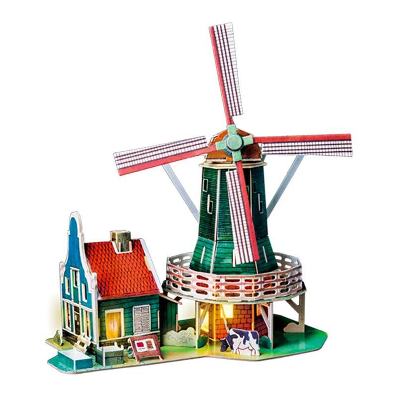 Robotime Diy Wood House Dutch Windmill Modern Home