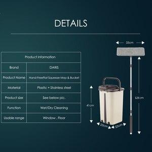 Image 2 - Espremer plana Wringing Mop Limpeza do Chão Esfregão e Balde Mão Livre Almofadas de Microfibra Mop Molhado ou Seco Uso em Madeira laminado Telha