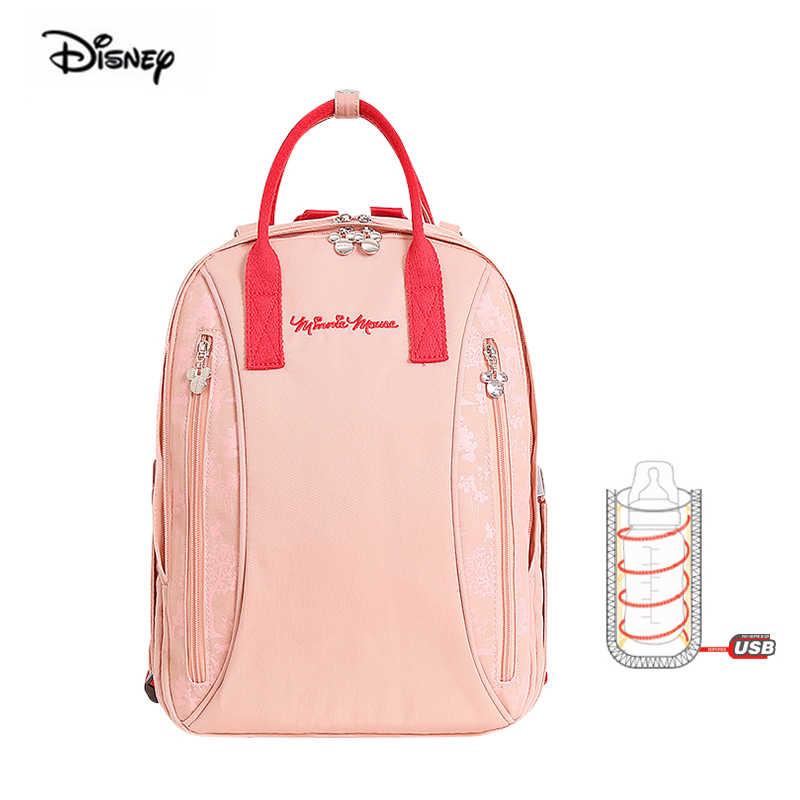 2019 Disney Minnie Mickey multifonctionnel USB chauffage momie mère sac pour couches bébé voyage sac à dos isolation livraison directe