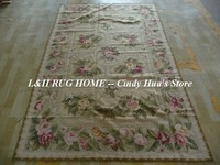 Free shipping 10K 5'x8' room carpets needlepoint woolen rugs with flowers design handmade for home decoration