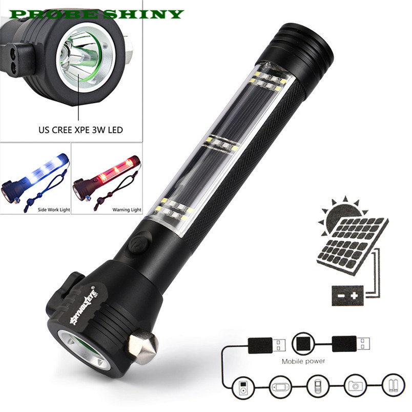 Solar Powered 3W LED Flashlight Safety Hammer Torch Light with Power Bank Magnet Free Shipping #NO12 high quality solar powered 3w led flashlight safety hammer torch light with power bank magnet
