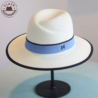 New Arrival Summer Fashion M Letter Straw Hat For Women Large Brim M Panama Straw Fedora