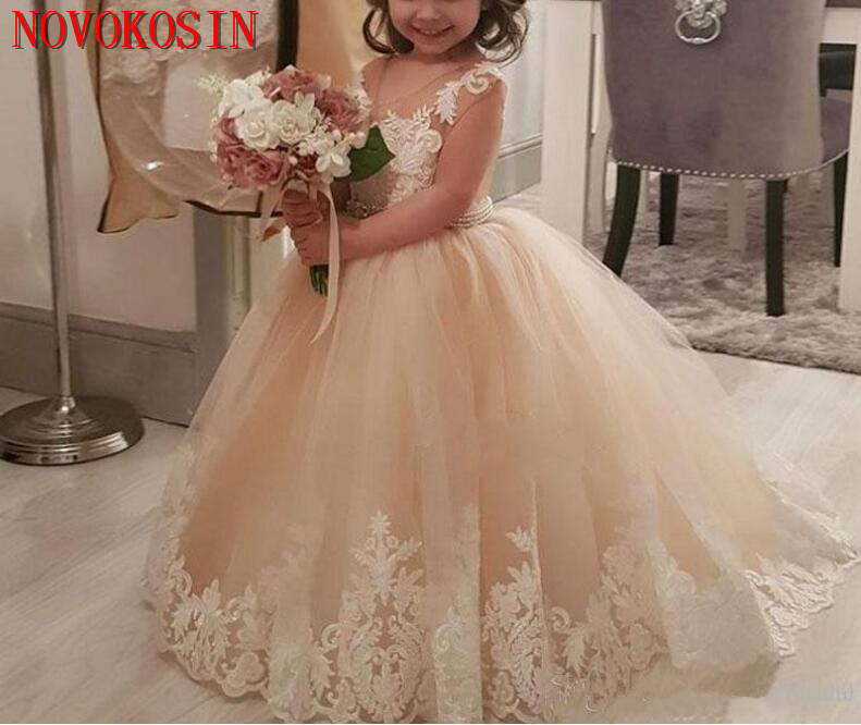 2019 Champagne Ball Gown   Flower     Girls     Dresses   Cap Sleeves Applique Sash Beaded Lace Tulle Tutu Birthday Party Pageant Gown
