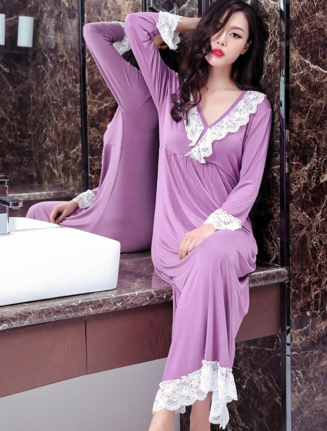 Women M L XL XXL Long Loose Casual Modal Cotton Sleepwear Night Dress Pajamas Women's Night Gowns Robes RB296