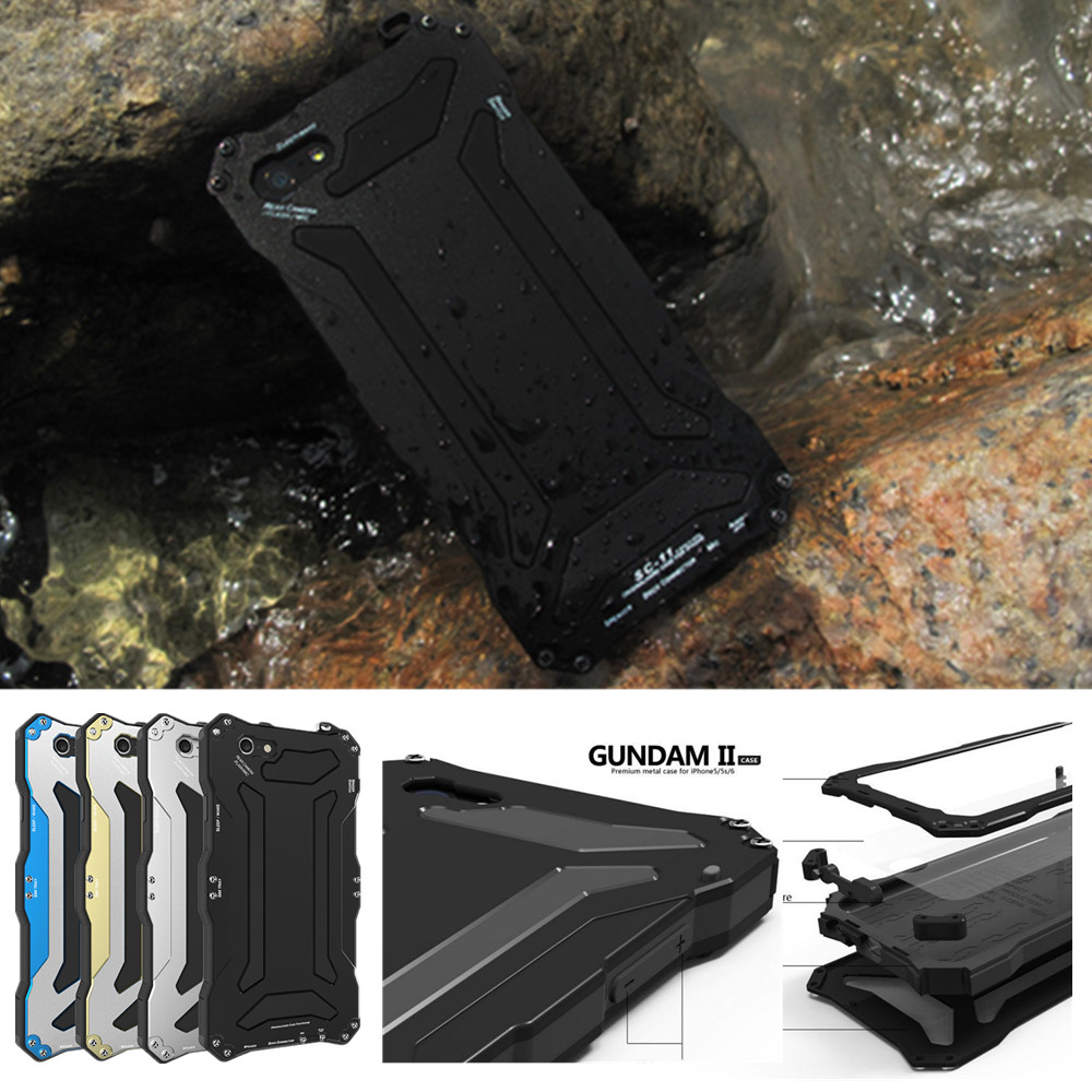 Aluminum Metal+Silicon Hybrid ShockProof Waterproof Case With Gorilla Glass Case Cover for iPhone 5 5s 6 6s 4.7/6 6S Plus