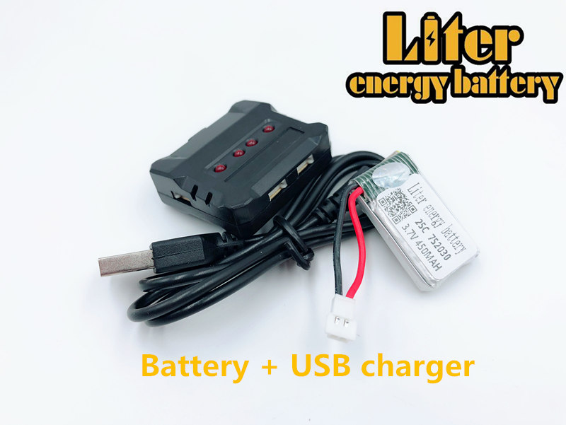 25C <font><b>3.7V</b></font> <font><b>450mAH</b></font> 752030 Lipo Battery For 1306 Udi U816 U830 F180 FY530 Remote control helicopter 25C <font><b>3.7V</b></font> <font><b>450mAH</b></font> + USB charger image