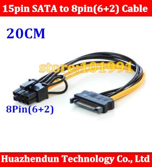 1pcs Free Shipping 15pin SATA male to 8pin(6+2) PCI-E Power Supply Cable Cable 20cm SATA Cable 15-pin to 8 pin cable цена и фото