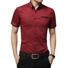 Новое поступление, брендовая мужская летняя деловая рубашка, рубашка с короткими рукавами и отложным воротником, рубашка-смокинг, мужские рубашки больших размеров 5XL