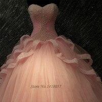 Vestidos De Noiva фото Реальные Розовый Белый жемчуг свадебное платье платья Кружево до бальное платье Свадебные Платья для женщин 2016 этаж Длина