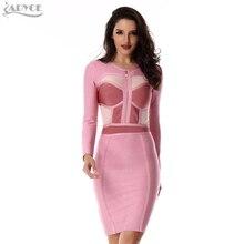 2017 Summer Dress Celebrity Cocktail Bodycon Bandage Dress pink O neck Long Sleeve apricot mesh Women Party Runway Dress Vestido