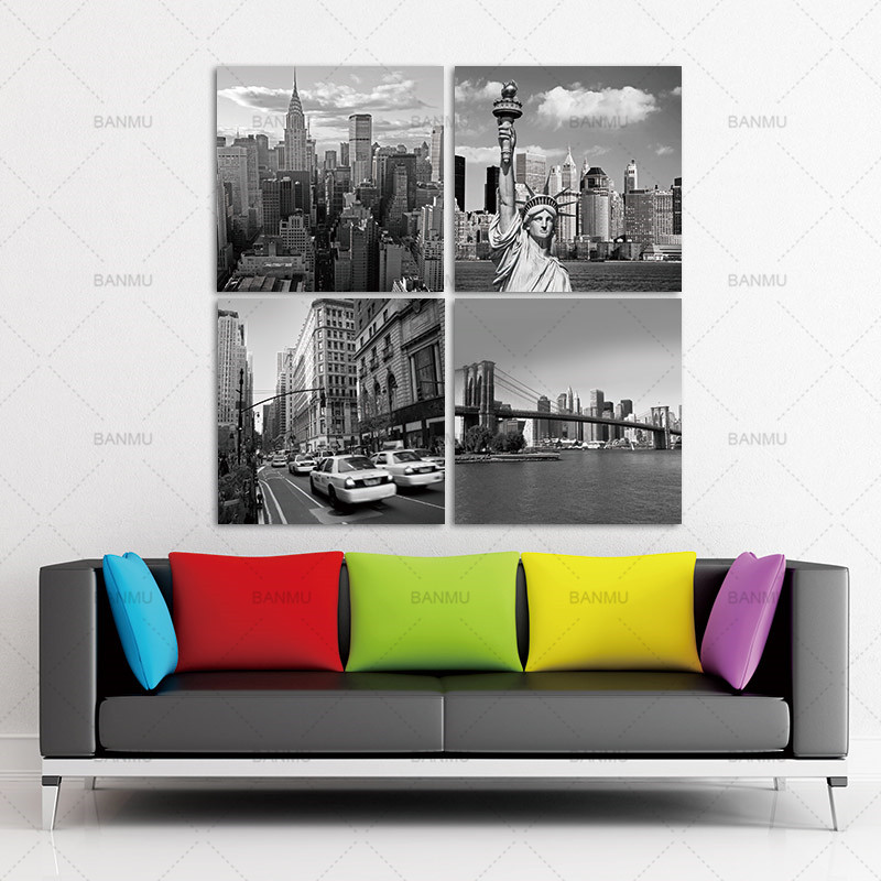 New York City Picture Canvas Painting Modern Wall Art: Aliexpress.com : Buy BANMU Wall Art Picture 4 Panels New