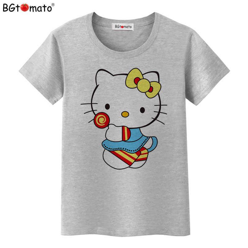 BGtomato Ciao Kitty fumetto bello T-Shirt da donna estate vestiti cool Buona qualità del Marchio top confortevoli camicie casual