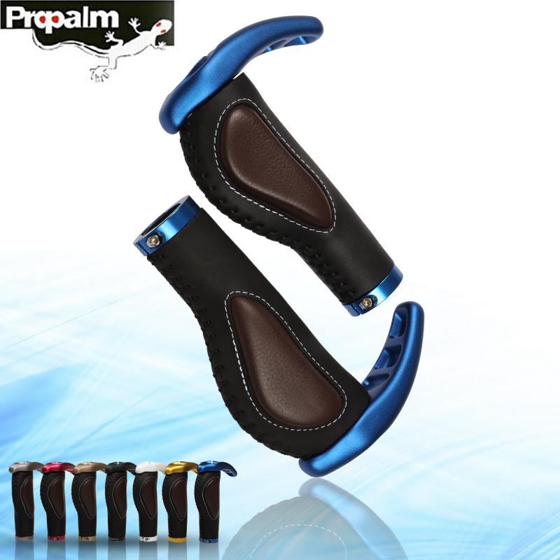 Propalm Bicycle Grips Non slip Cycling Lockable Handle Comfortable Aluminum Alloy Cowhide Silica Gel Bike Accessories