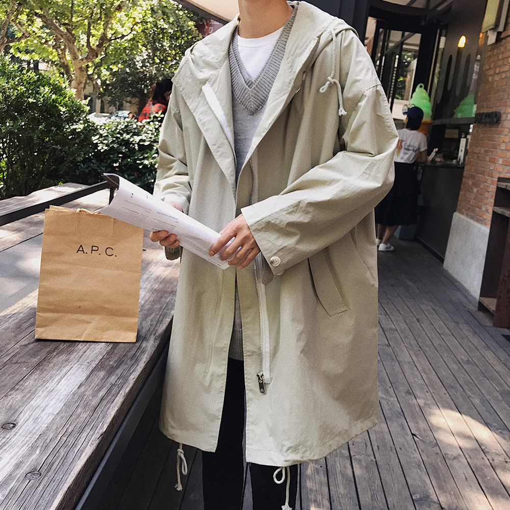 2019 Autumn New Long Jacket Trench Coats Men's Fashion Solid Color Casual Hooded Windbreaker Pocket Trench Jackets