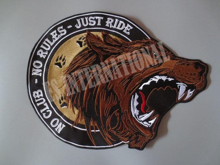 12.6 pulgadas de un solo oso rugiendo grandes parches de bordado para chaqueta chaleco trasero motocicleta motociclista