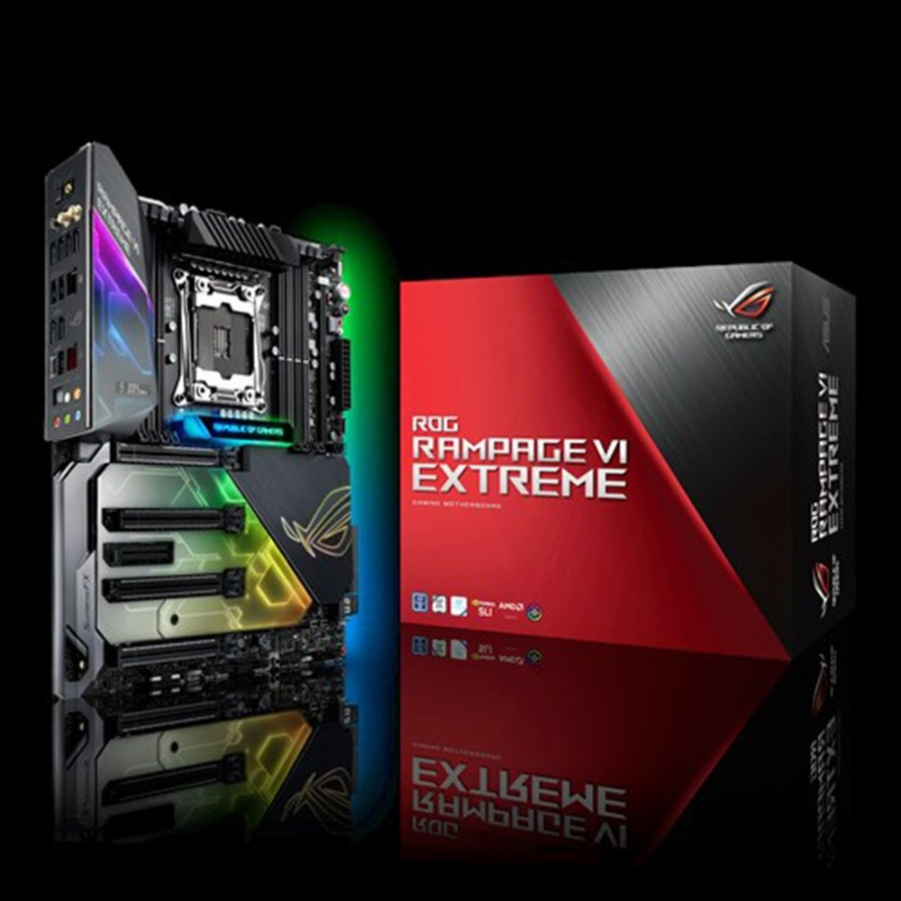 ROG RAMPAGE VI EXTREME Motherboard ASUS X299 Mainboard Support LGA2066 DDR4 Dual M.2 Extension Card Desktop Motherboard rog strix x299 xe gaming x299 atx motherboard 802 11ac wi fi ddr4 dual m 2 sata 6gbps usb3 1 desktop mainboard