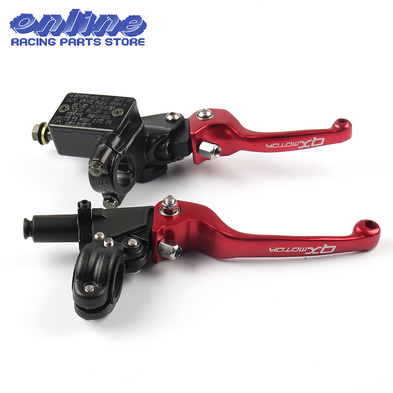 Red QXMOTOR Logo CNC Folding Brake Lever ASV Clutch Lever With Front Pump Fit CRF KLX YZF RMZ Motorcycle Dirt Bike Motocross logo cnc for honda crf450r 2002 2003 red black motorcycle brake clutch levers dirt bike pivot lever crf 450r crf 450 r 02 03