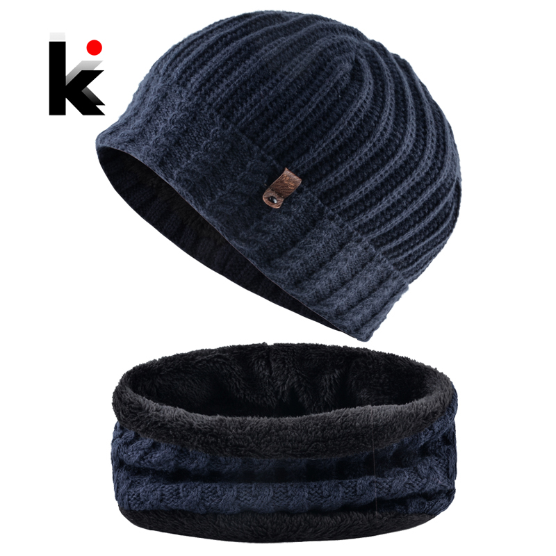 Winter Thick Hat Set For Men Solid Color Knitted Twist Pattern   Beanie   Scarf Set Add Velvet   Skullies     Beanies   Warm Ski Cap Scarves