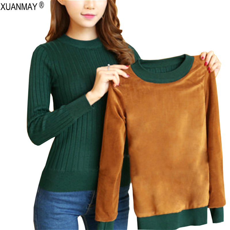 2019 Winter Plus Thick Velvet Knit Sweater Bottoming Shirt Velvet Lining Warm Pullover Sweater Female Fashion Thick Sweater