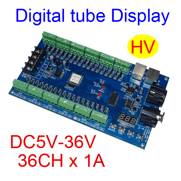 wholesale 1pcs DC5V-36V 36 channel 12groups RGB Easy 36CH DMX512 XRL 3P led controller, decoder,dimmer,drive for led strip light 350ma constant current 12ch dmx dimmer 12 channel dmx 512 dimmer drive led dmx512 decoder rj45 xrl 3p