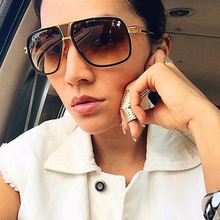 LVVKEE New Couple Flat Top fashion Luxury Driving 18K Gold Big Frame Square Wome