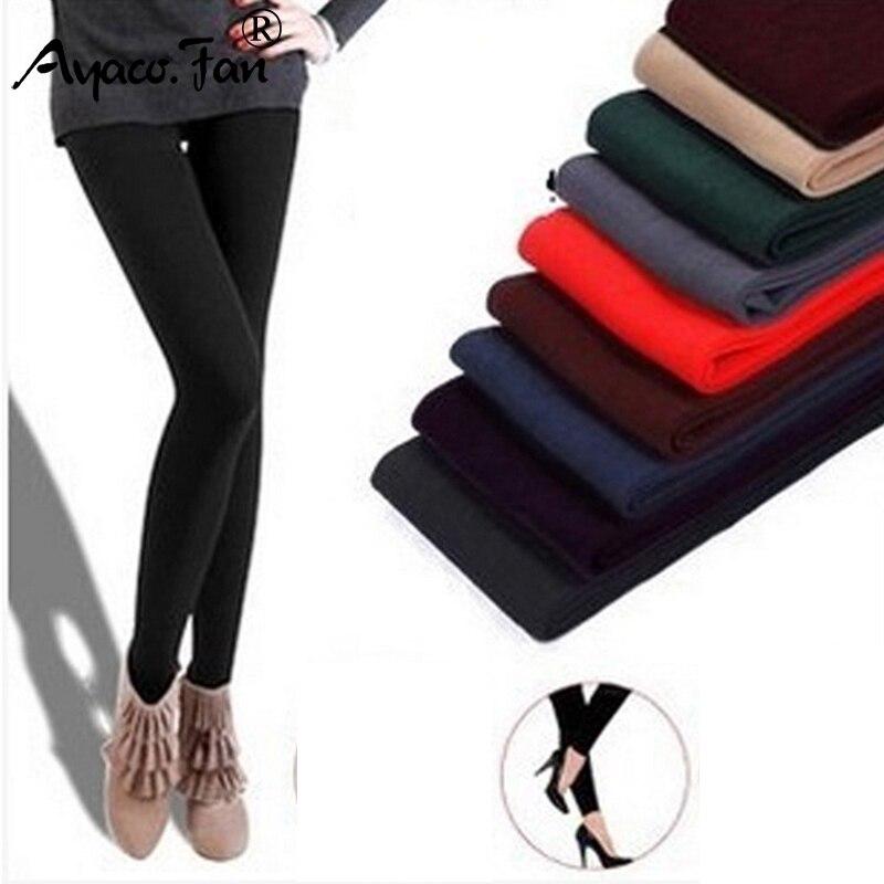 2019 Fashion Leggings Women Girls Warm Winter Bright Velvet Knitted Black Thick Legging Super Elastic Pants Free Size Trousers
