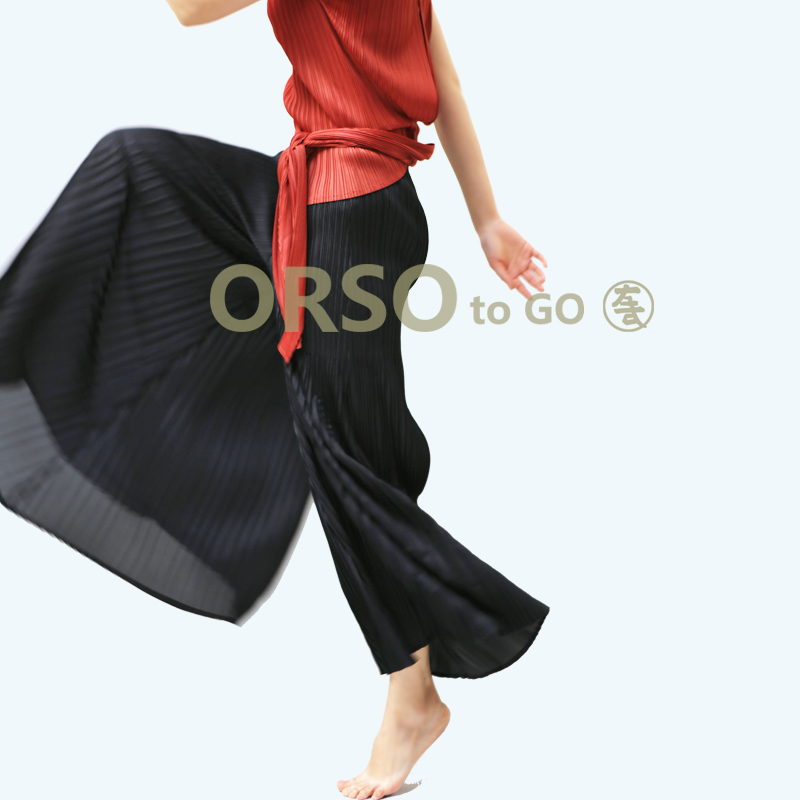 Azterumi Issey Miyake Spring Summer New 2019 Women Casual Loose Pleated   Pants   Women Elastic Waist   Wide     Leg     Pant   Black Blue