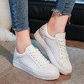 Zapatos de las mujeres Ocasionales de la Marca de Verano Zapatos de Skate Clásico Blanco Entrenadores Lace-Up Canasta Femme Chaussure Femme Zapatos Planos No Logo