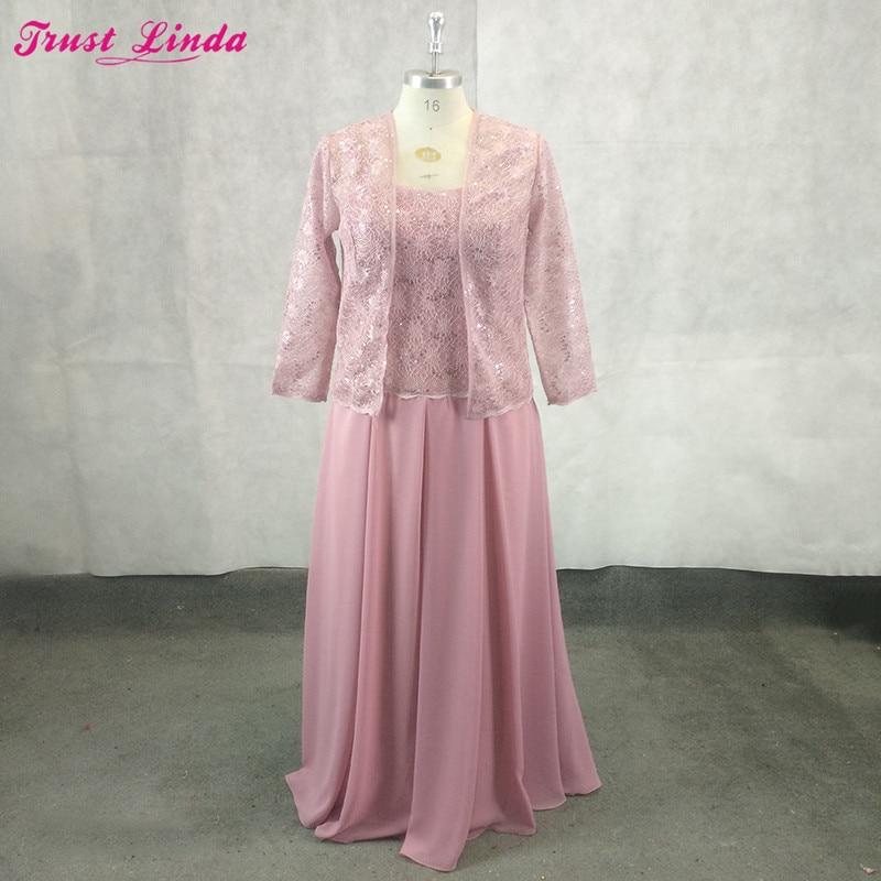 Élégante dentelle rose foncé longue mère de la mariée robes à manches longues avec veste en mousseline de soie femmes robe de soirée mère robe grande taille
