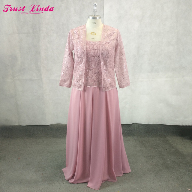 Elegant Dark Pink Lace Long Mother Of The Bride Dresses Long Sleeves