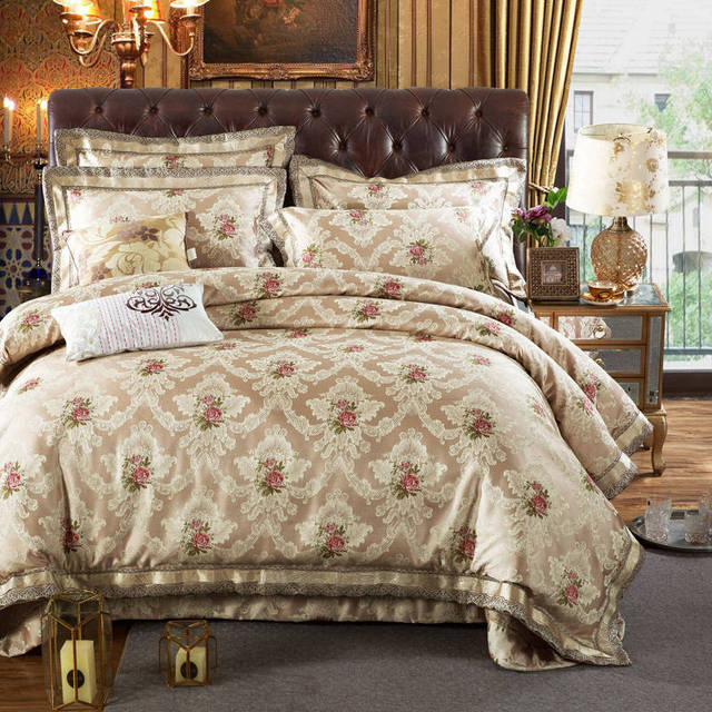 Oriental Cotton Quilted Bedspreads King Sizes Luxury Jacquard Embroidered  Bedding Sets Silk Satin Duvet Cover 4