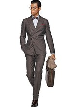 HOT SELLING 100% wool Hand made dark grey 2 pieces six buttons wide peak lapel cheap mens suits
