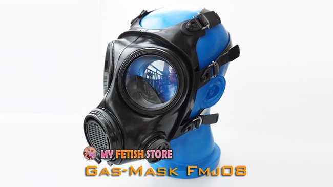 (FMJ08-1) Mewah Menyesuaikan Buatan Tangan Karet Lateks Gas Masker Fetish Pakai