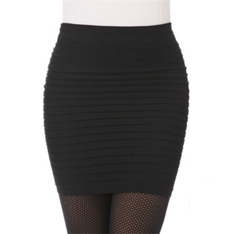 snowshine YLIW1PC Fashion Womens Elastic Pleated High Waist Package Hip Short Skirt free shipping