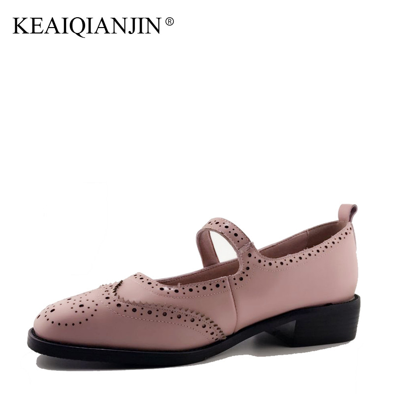 8e0baa79231 KEAIQIANJIN Woman Genuine Leather Brogue Shoes Spring Autumn Mary Janes  Shoes Brown Pink Flats Genuine Leather Retro Brogue Shoe