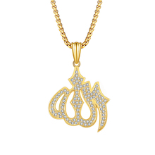 religious jewelry muslim allah pendant necklace for women men fashion luxury crystal rhinestone necklace accessories chic rhinestone faux crystal oval necklace for women