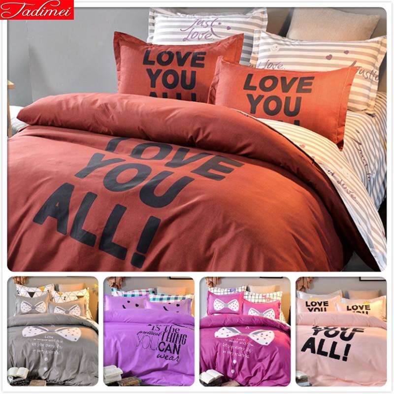 Charitable Loving Letter Duvet Cover Twin Double Queen King Full Size 3/4 Pcs Bedding Set Kids Bedclothes 1.5m 1.8m 2.0m Bedsheet Bedlinens Power Source