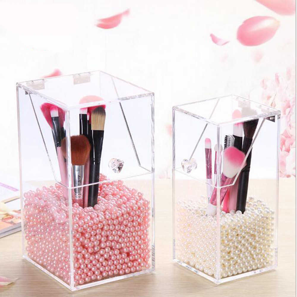 Transparent Makeup Pearl Organizer Storage Box Clear Jewelry Cosmetic Storage Stand Lipstick Rack Cosmetic Brush Bucket Holder
