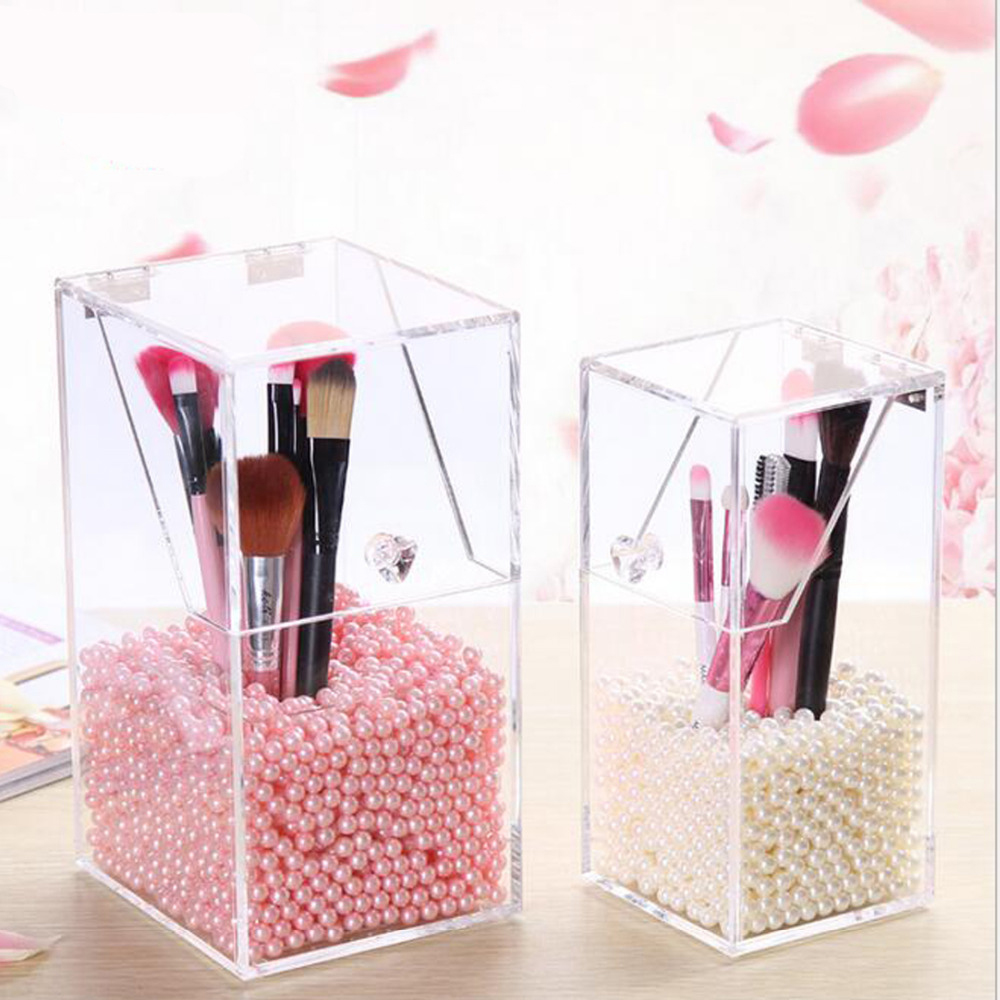 Makeup Organizer Storage Box Acrylic Cosmetic Drawers Brush Bucket
