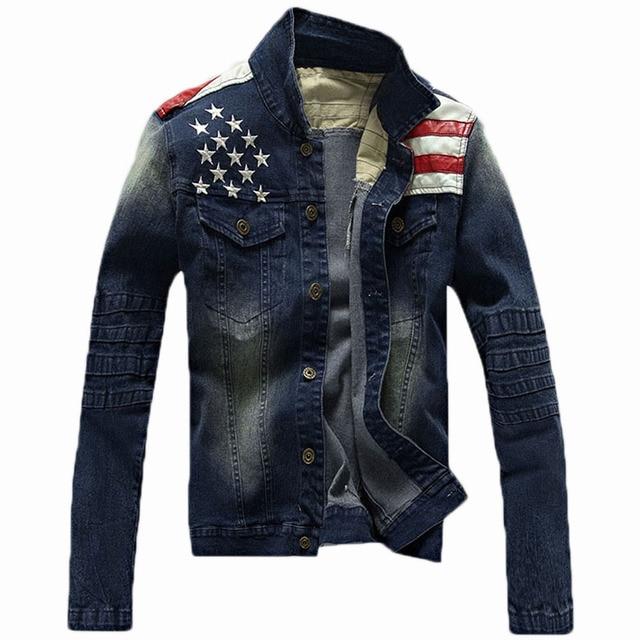 free shipping 2018 Denim Jacket Embroidered Logo Jeans Men Denim Jacket  Leather Sleeves Pepe Jeans Cowboy Jacket 70 92ca9e9e5