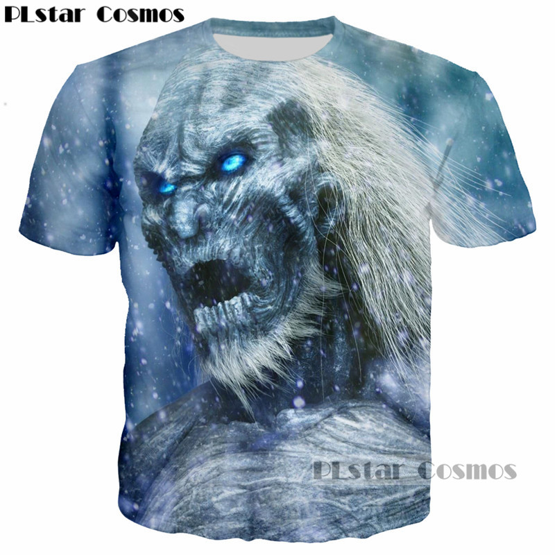 PLstar Cosmos Newest Design Game of Thrones The white walkers Ghost 3D Printed Men T-shirt mans tshirt Skull Tees Cool t shirt