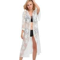 Shermie 2017 Mùa Hè Cardigan Bãi Biển Phụ Nữ Outwear Ren Crochet Dài Tay Áo Kimono Cardigan Casual Bìa Up Áo Beachwear Blusa