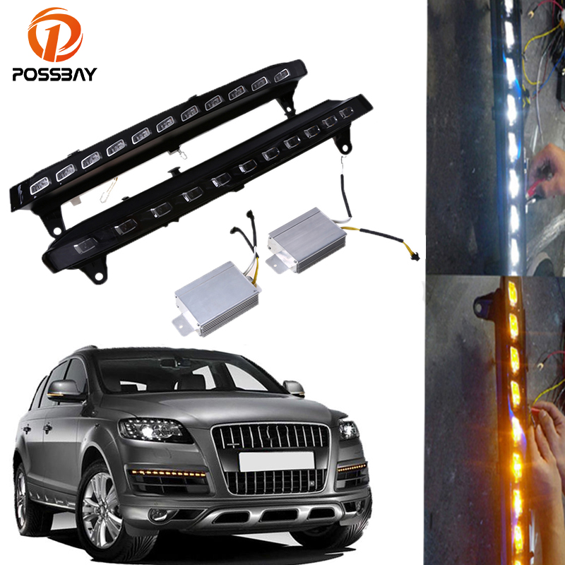 POSSBAY Car Daytime Running Lights for Audi Q7 (4L) '2005-2009 Pre-facelift White Yellow 22 LED DRL Fog Lamp Turn Signal Lights for opel astra h gtc 2005 15 h11 wiring harness sockets wire connector switch 2 fog lights drl front bumper 5d lens led lamp