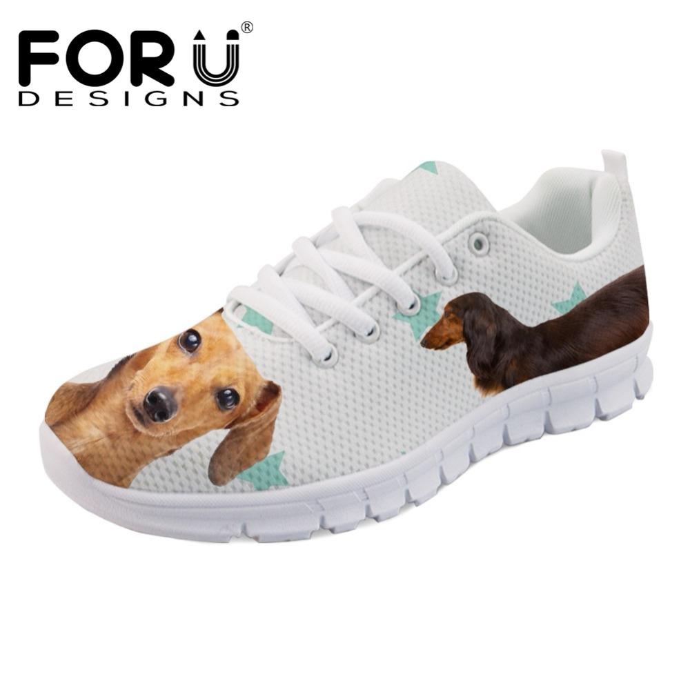 FORUDESIGNS Lovely Animal Dachshund Dog Pattern Shoes Flats Women Luxury Brand Women's Casual Sneakers Breathable Zapatos Mujer